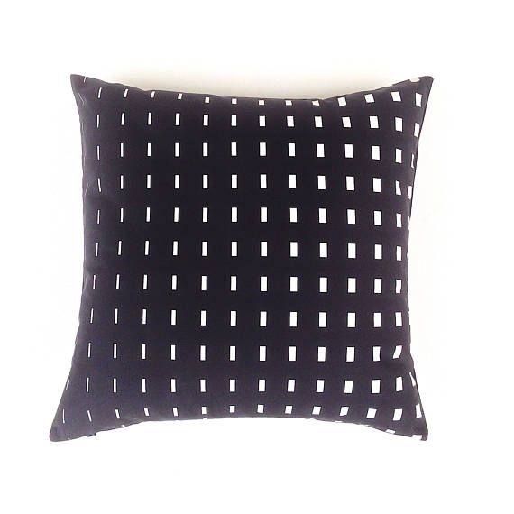 Graphic Black White Cushion Cover. Black Scandinavian Cushion.