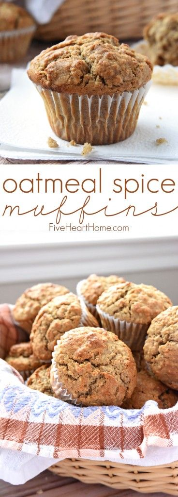Oatmeal Spice Muffins ~ perfectly spiced with crunchy tops and pillowy centers, making them a wholesome, delicious breakfast on-the-go or anytime snack! | http://FiveHeartHome.com