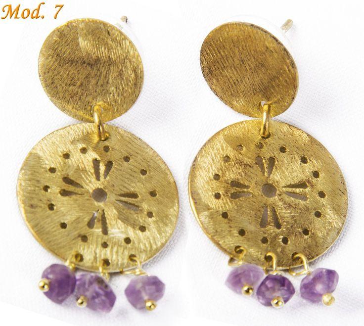 Aros enchapado en oro con piedras naturales 38.000 carocortesi@gmail.com +56995489407