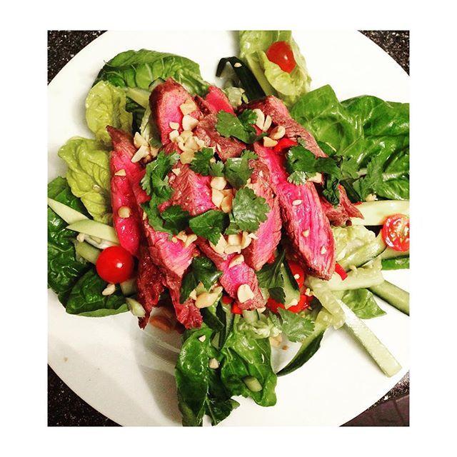 Last nights dinner, Thai beef salad - recipe from the bodycoach #bodycoach #healthy #yummy #coeliac #nutrition #thai #salad #greenfood