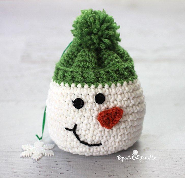 #crochet, X-mas, Christmas, decoration, Snowmansack, giftwrap, #haken, gratis patroon (Engels), sneeuwpop, cadeautas, decoratie, Kerstmis, verpakking, tasje, #haakpatroon