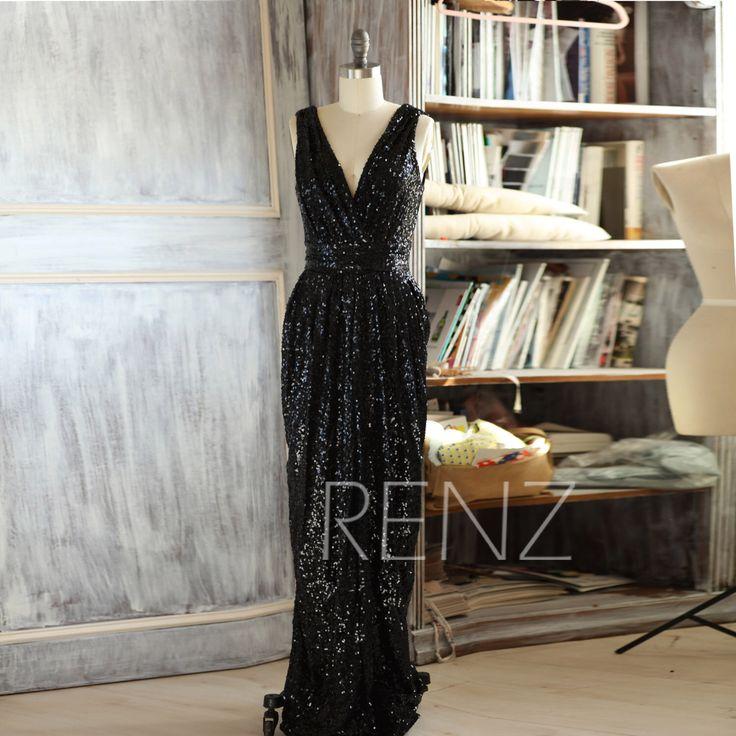 2016 Long Black Bridesmaid dress, Sleeveless Luxury Sequin Evening dress, V neck Metallic Sparkle Wedding dress, V Back Full length (TQ150A) by RenzRags on Etsy https://www.etsy.com/listing/255920032/2016-long-black-bridesmaid-dress