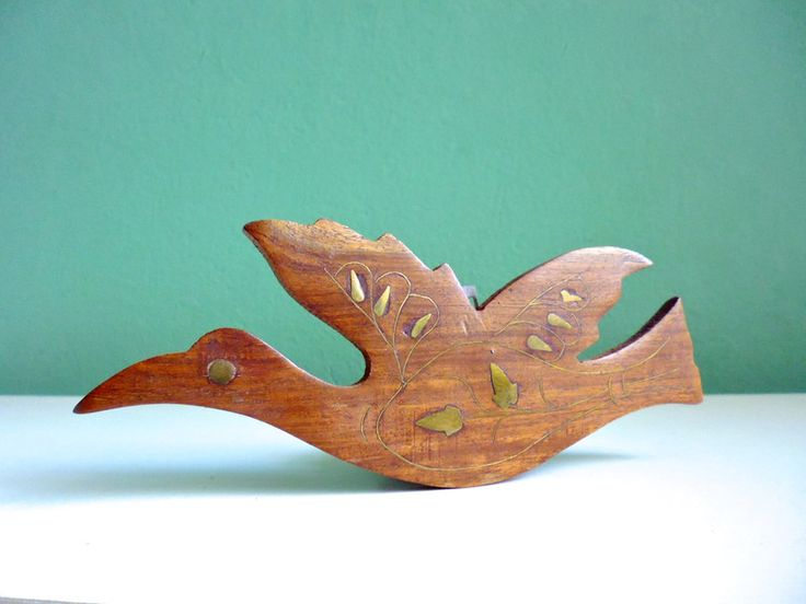 Vintage Vogel Kranich 50er Teak  mittel 19 cm von ILoveSparrows auf DaWanda.com