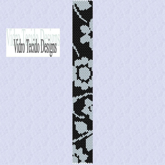 Black and White Flowers Peyote Pattern by vidrotecido on Etsy, $2.00