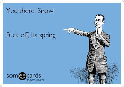 English Weather. Spring. Snow. Humour. Funny.