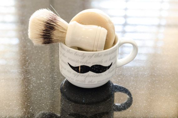 Bay Rum Old Fashioned Shaving Soap (all natural) gift set.  Great Father's Day or Birthday Gift. Shave set with mug and brush.