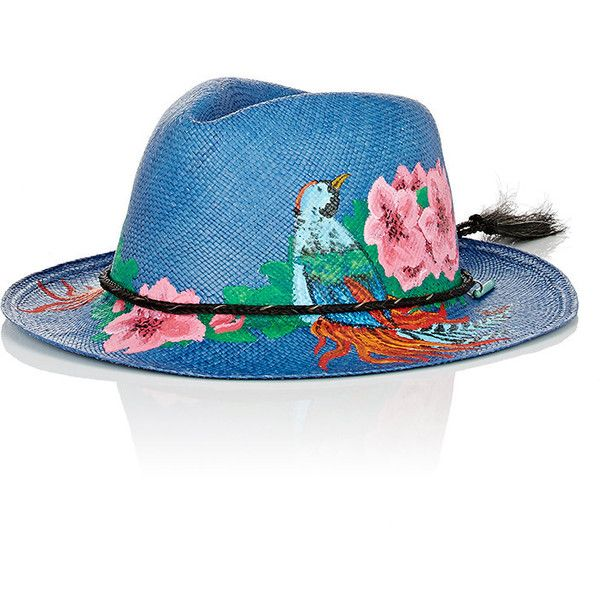 Ibo Maraca Women's Curacao Panama Hat (42830 RSD) ❤ liked on Polyvore featuring accessories, hats, blue, pompom hat, flower crown, straw hat, blue flower crown and pom pom hat