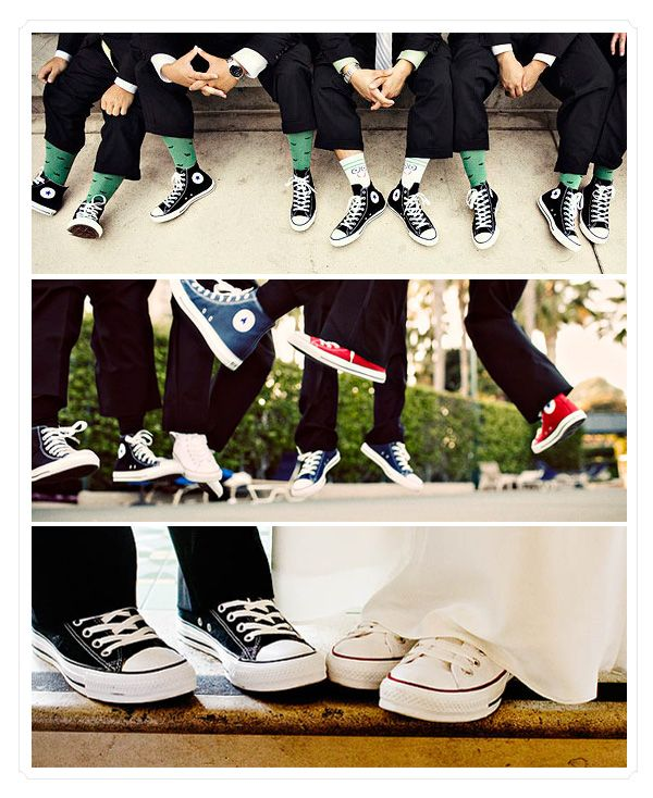 I think that it would be fun if the guys in my wedding party wear converses...I might change my mind later...but I think that it would be fun. :)
