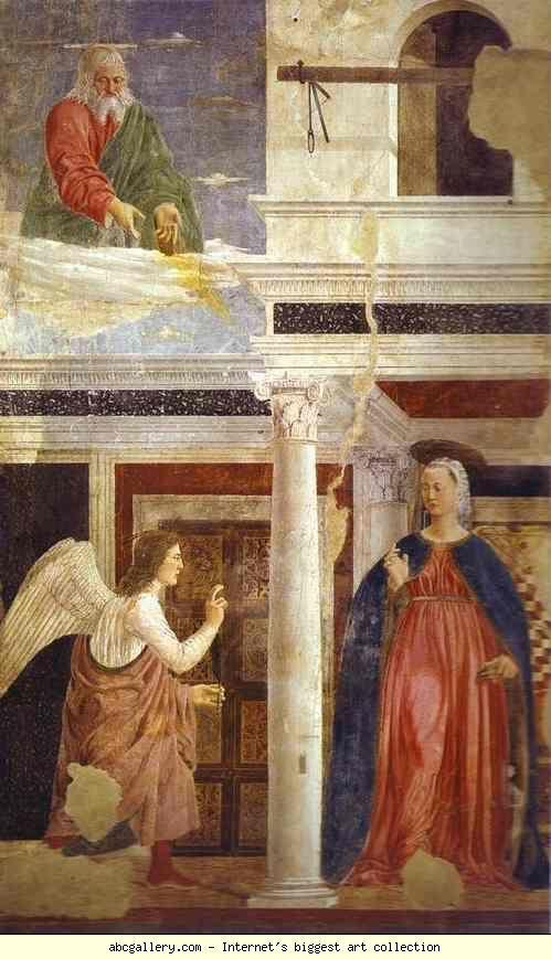 Piero della Francesca - Legend of the True Cross: Annunciation. 1452-1466. Fresco. 329 x 193 cm. San Francesco, Arezzo, Italy.