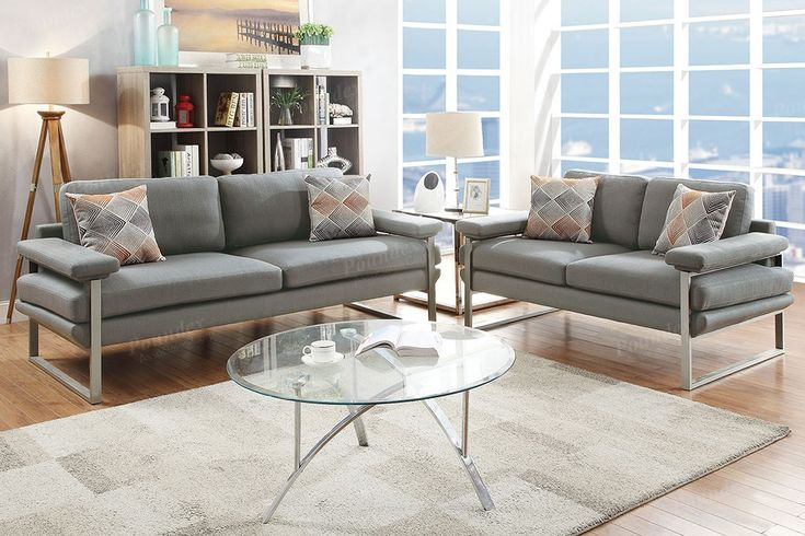 Laguna 2pc Sofa and Loveseat set in Grey