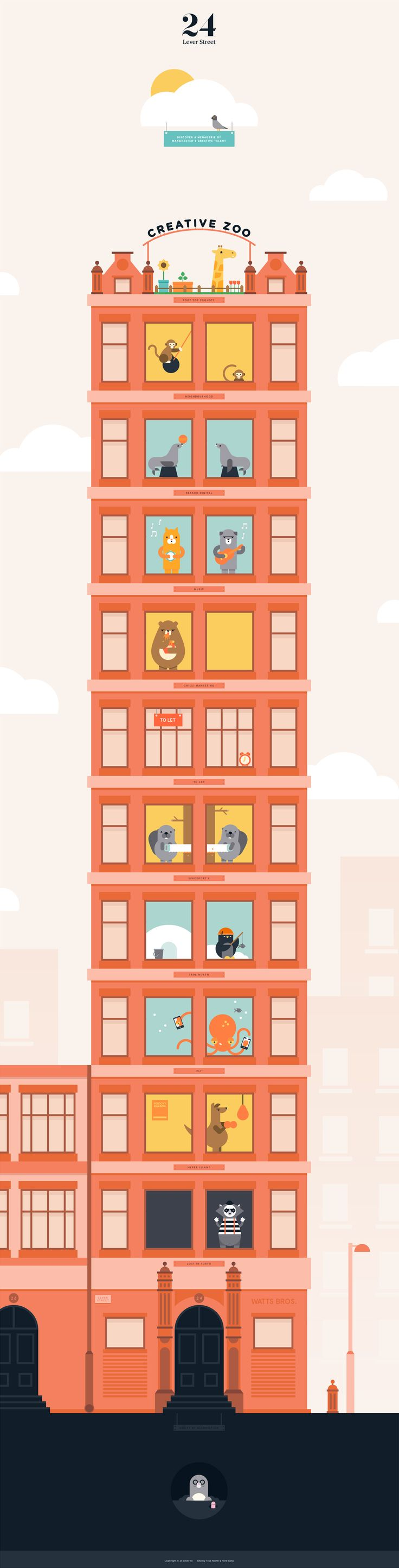 What a gorgeous colorful One Pager filled with fun character animations. The long scrolling Single Page website features a tall illustrated building showcasing which tenants occupy each floor of '24 Lever Street' along with the vacancies. Lovely work this by Nine Sixty digital agency from UK.