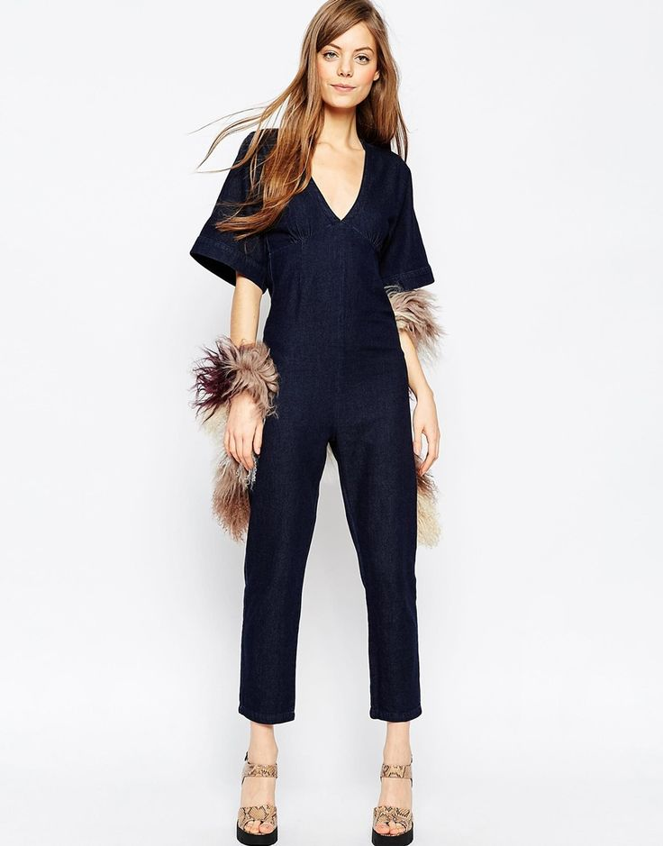 ASOS+Denim+Open+Back+Jumpsuit+With+V-Neck+And+Wide+Sleeve