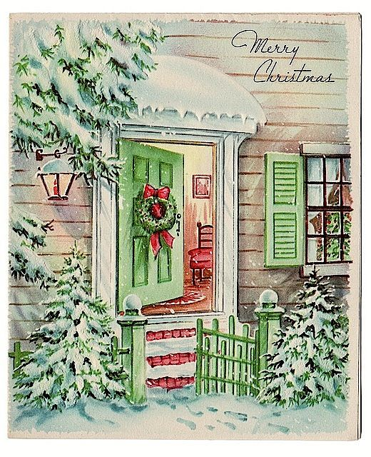 Christmas door - Vintgage Xmas card