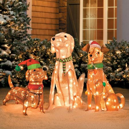Outdoor dogs christmas decorations home pre lit tinsel for Pre lit outdoor decorations