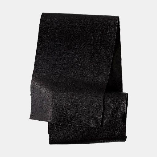 Bøffel lær sort ca. 20 x 100 cm - STOFF & STIL