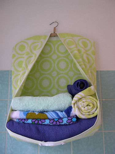 Hanging Towel holder - useful for fabric storage, sweaters, next day's clothing choices... etc.