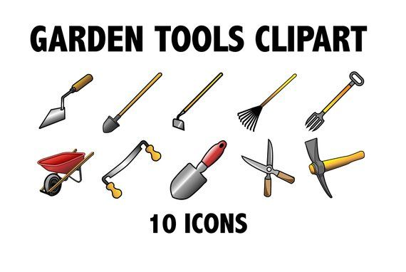 Garden Tools Clipart Printable Landscaping Icons Rake Etsy