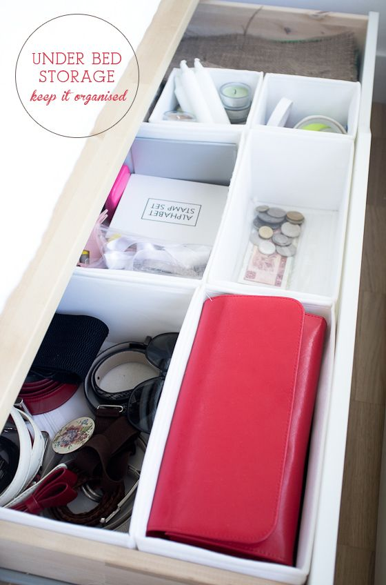 small space living - under bed storage. Use the collapsible drawer organizers from Ikea