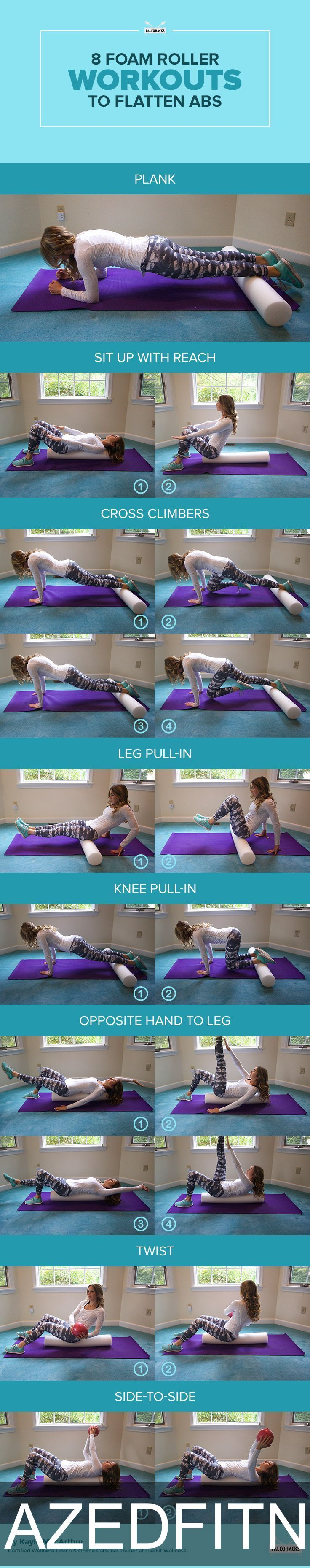 Foam Roller #Workouts   | #Exercises   for a stronger core #Fitness   #fit