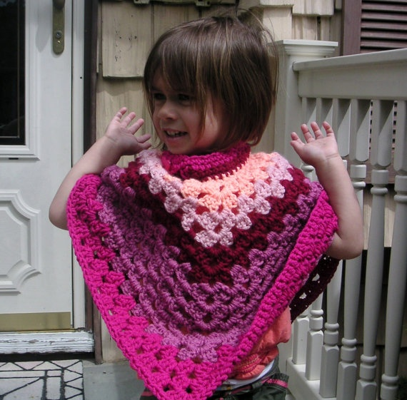 Crochet Toddler Poncho in Shades of Rose by LynnsCreativeCrochet, $20.00