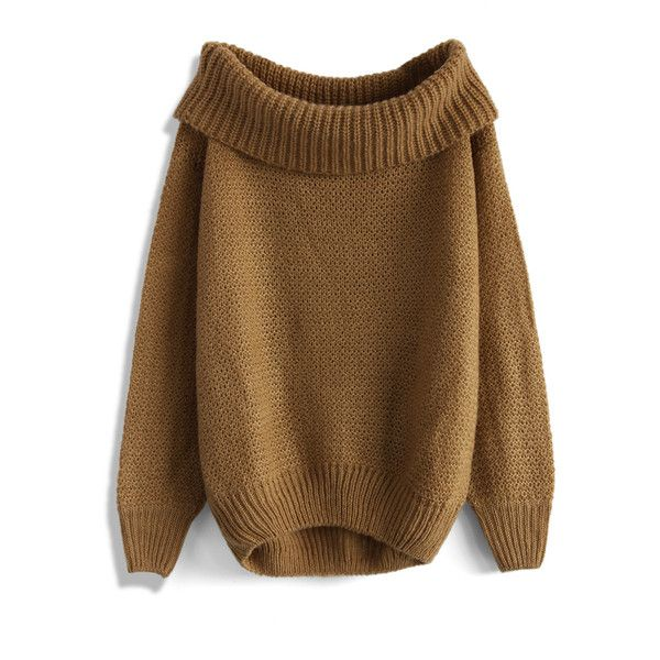 Chicwish Slouchy Off-shoulder Sweater in Tan ($51) ❤ liked on Polyvore featuring tops, sweaters, brown, off shoulder sweater, off the shoulder tops, tan top, slouchy off the shoulder tops and flat top