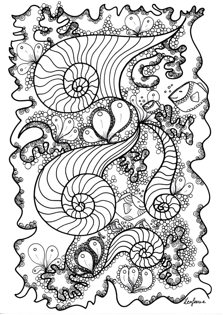 Free Coloring Page Coloriage Adulte Poisson By Zenfeerie Fishes Hidden In