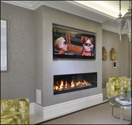 Horizontal Fireplace With Feature Wall