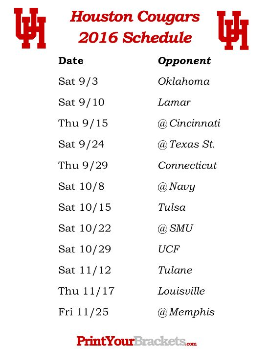 Printable Houston Cougars Football Schedule 2016