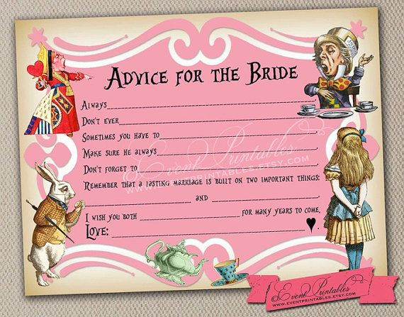 Printable DIY Alice in Wonderland Mad Libs, Bridal Shower Game, Tea Party Advice Card, Guest Libs, Pink INSTANT DOWNLOAD by Event Printables on Etsy, $15.00