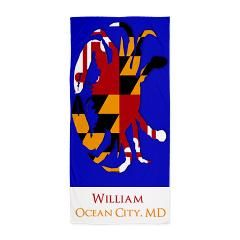 personalized Maryland blue crab beach towel