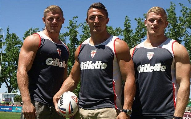 I'll TAKE ONE OF EACH PLEASE! England rubgy players The Burgess brothers - Sam (middle) and identical TWINS (MOMMY!) George and Tom