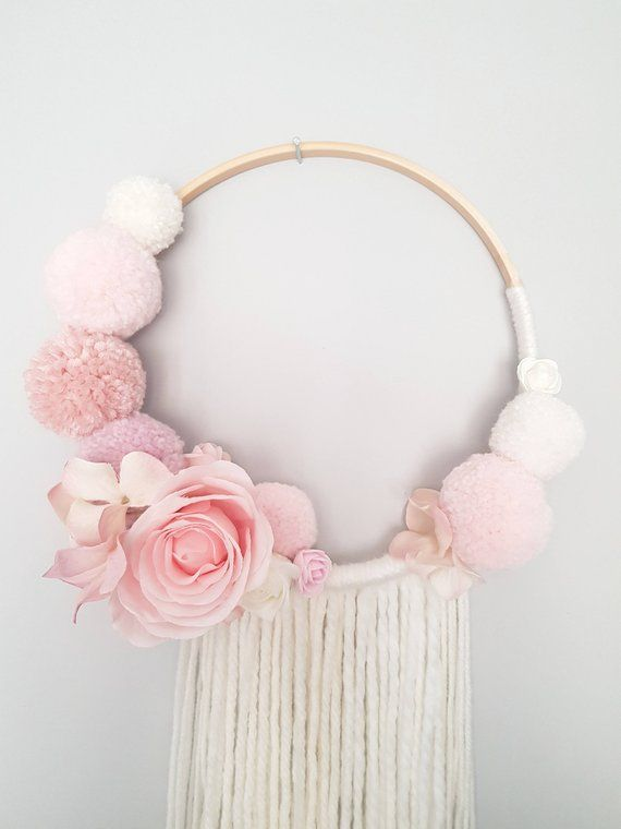 Pompom Floral Wall Hanging, Dream catcher, Nursery Decor, Baby Shower Decorations, Girl Nursery