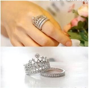 2.89$  Buy here - 2016 Fashion Silver Crystal Crown Rings For Women Party Ring Set Punk brand Jewellery Bague Femme Bijoux   #buyininternet