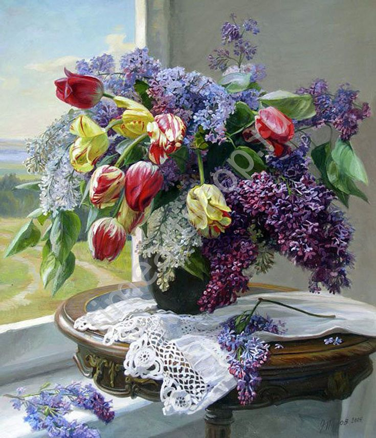 "Эдуард Панов ""Весенний дуэт тюльпанов и сирени"", картина раскраска по номерам, своими руками. Размер 40*50сми, цена 750 руб."