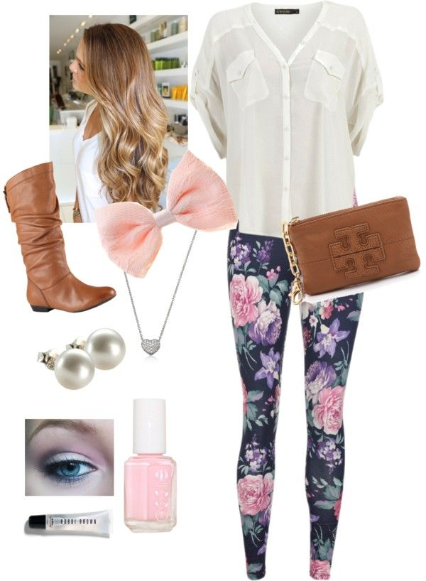 """""""White Blouse and Floral Legging Outfit"""" by ericahootstein ❤ liked on Polyvore"""