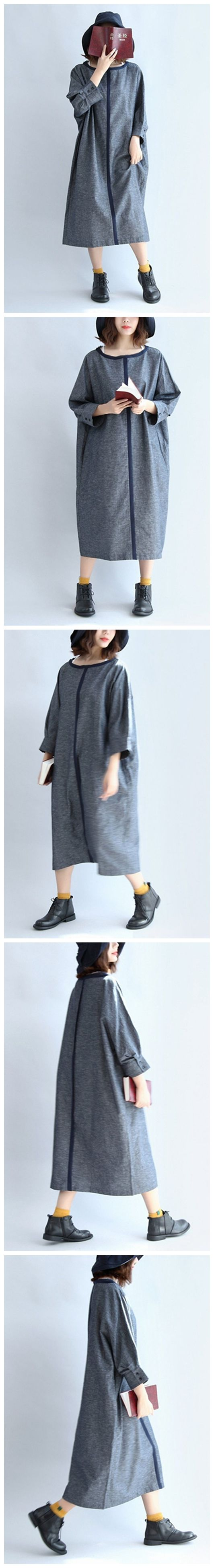 Women Round Collar Linen Casual Maxi Dress Women Clothes Q7142