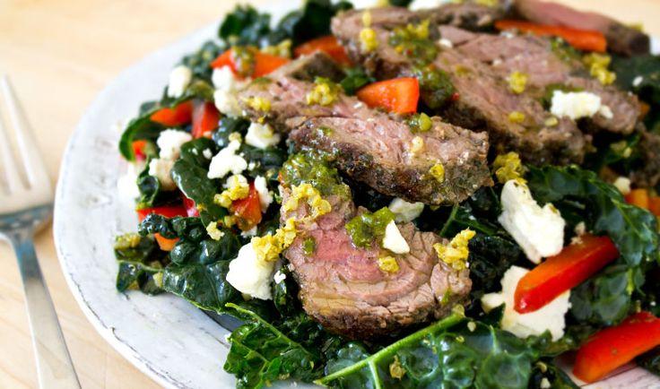 Steak, Pesto Quinoa & Kale Salad