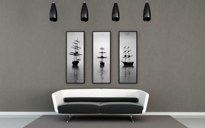 Muster in Schwarz-Weiß wandgestaltung mit Farbe - schwarz wei wohnzimmer