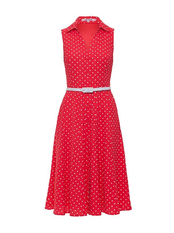 Review Australia | Seeing Spots Midi Dress Red/cream