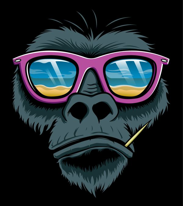 Illustrations by Design Monkey , via Behance. Gorilla with Wayfarer
