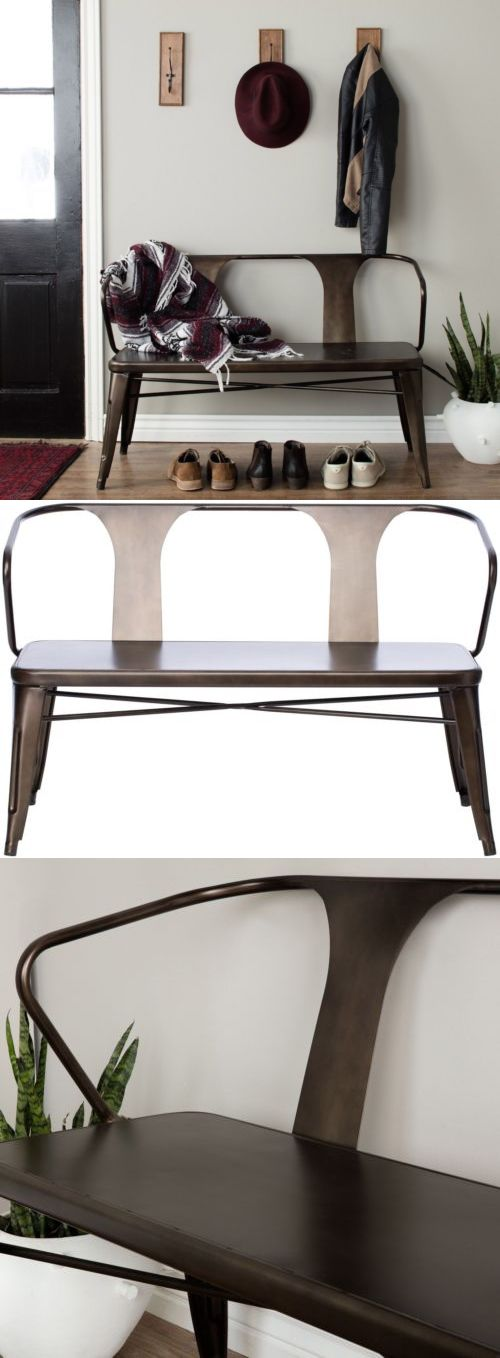 Benches and Stools 103431: Tabouret Vintage Metal Bench Brown Grey Finish Outdoor Indoor Decor New -> BUY IT NOW ONLY: $198.89 on eBay!