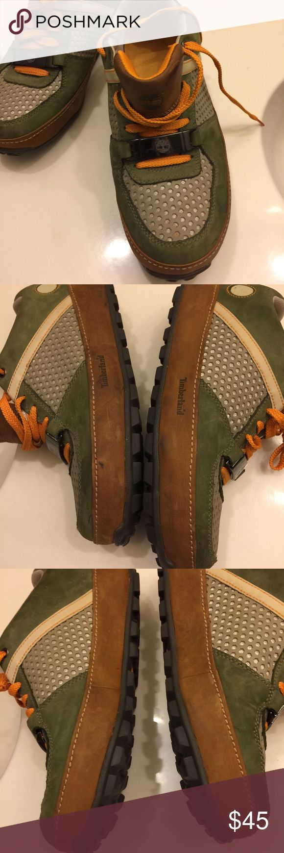 Timberland Trainers Genuine Leather Timberland Trainers in excellent preowned condition.                                                      Size:10.5 M Timberland Shoes Sneakers