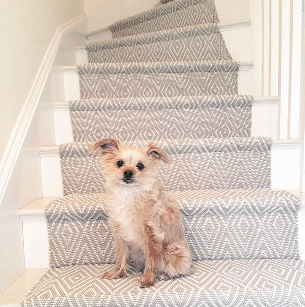 modern neutral stair runner in a diamond pattern