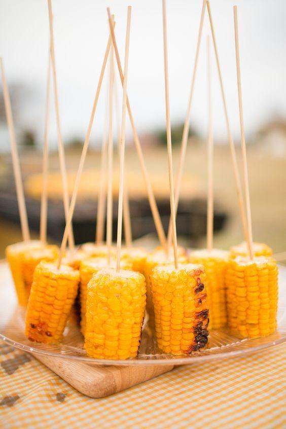 DIY barn wedding food / http://www.deerpearlflowers.com/barbecue-bbq-wedding-ideas/#wedding #corn-k-bobs