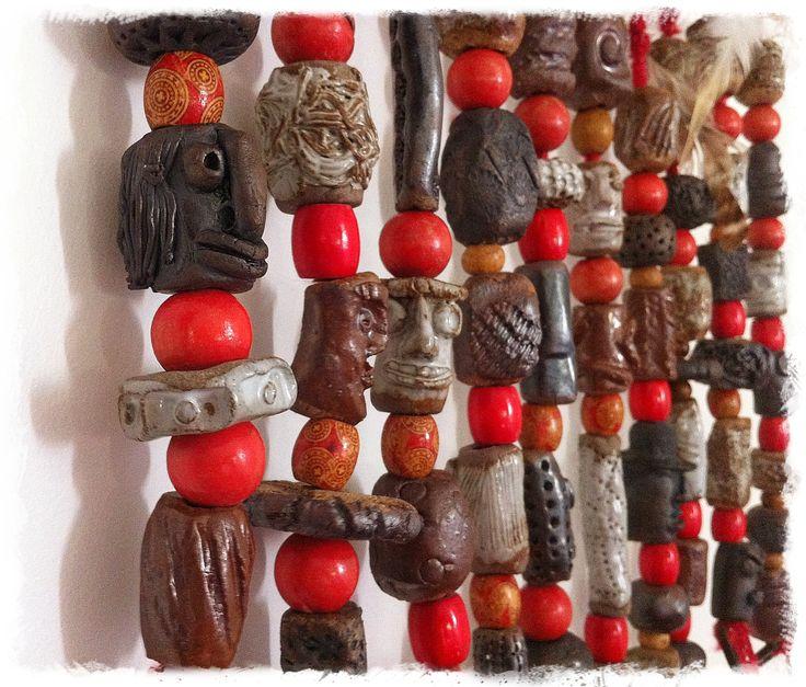 Primitive bead wall hanging