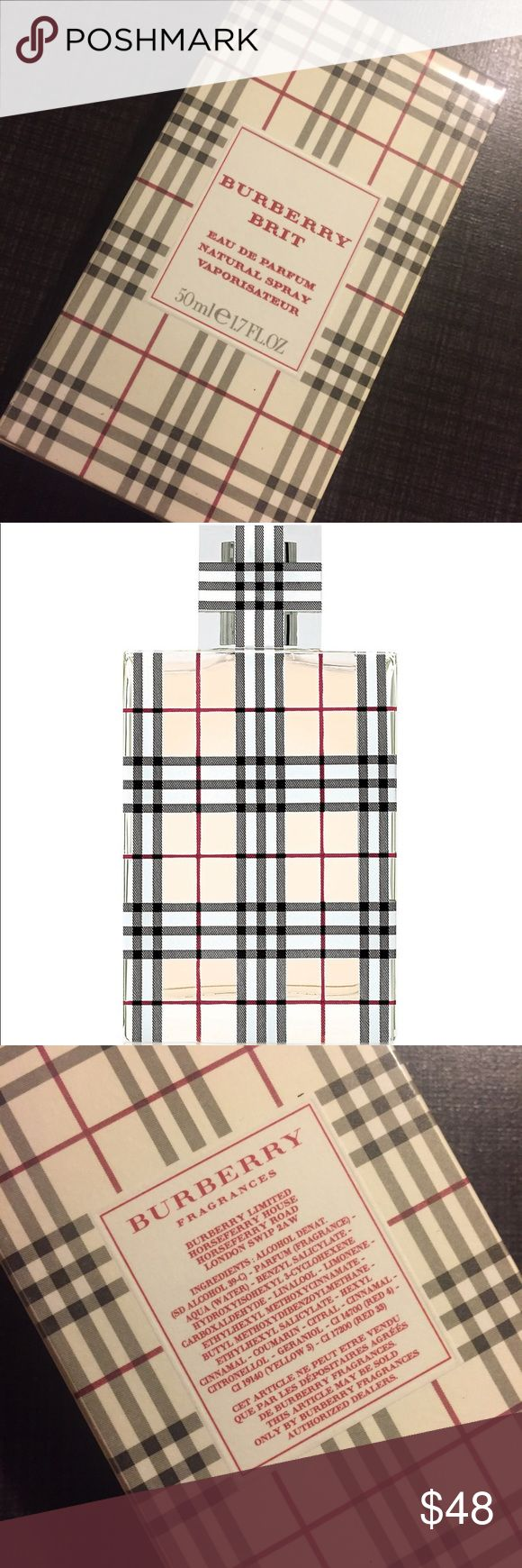 Burberry Brit eau de parfum 1.7 OZ Burberry Brit perfume! I never opened this, but I do have another bottle that I use and it's a wonderful scent! So rich and elegant! Burberry Makeup