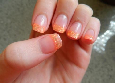 orange glitter acrylic nails