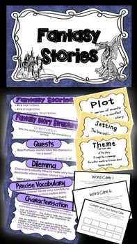This resource compliments the Grade 5 Australian National Curriculum English unit one. Included in it is a set of charts outlining what a fantasy story is and the components that make up the narrative:Characterisation, setting and plot, themes, quests.Using word clines to choose precise vocabulary (there are 6 worksheets for the children to have a go at building a word cline and one blank for their own vocabulary choices)