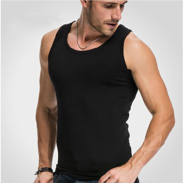 Men's close-fitting vest fitness elastic  breathable H type all cotton undershirts male tanks