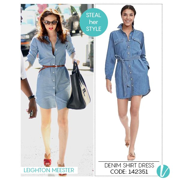 A denim Shirt Dress for our Urban Divas! Take a cue from #LeightonMeester and add a dash of Red Lipstick for a dressy day-out! Shop the Dress here: http://www.vilara.com/shop/banana-republic-denim-shirtdress  #denimdress #shirtdress #westernwear #celebritystyle #stealherstyle #vilara